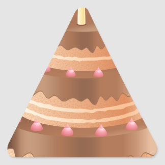 Chocolate cake with candles triangle sticker