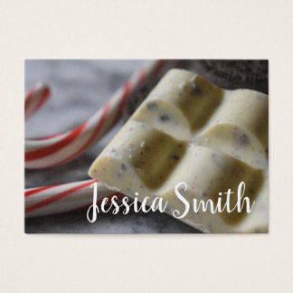 Chocolate Candy Cane Sweet Food Writer Pastry Chef Business Card