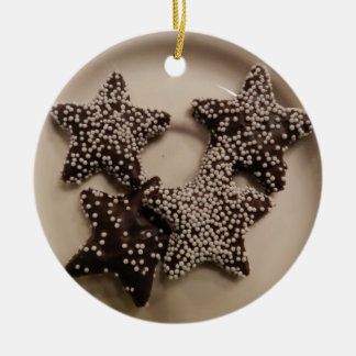 Chocolate Candy STars Ceramic Ornament
