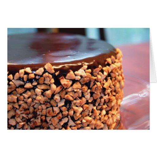 Chocolate Cashew Brownie Cake Invitation Greeting Card