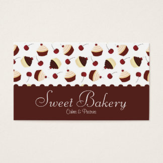Chocolate Cherry Cupcake Bakery Business Card
