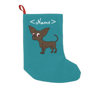 Chocolate Chihuahua with Short Hair Small Christmas Stocking