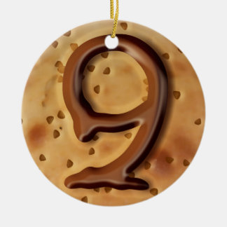 Chocolate chip cookie 3d effect illustration ceramic ornament