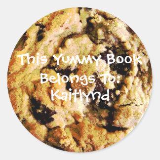 Chocolate Chip Cookie Book Label Round Sticker