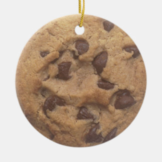 Chocolate chip cookie ceramic ornament