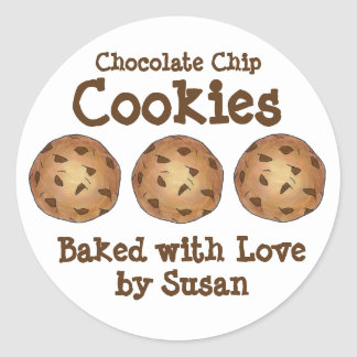 Chocolate Chip Cookies Baked Made with Love Bakery Classic Round Sticker