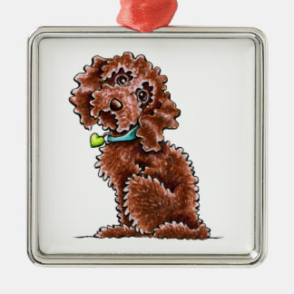 Chocolate Cockapoo Heart Collar Silver-Colored Square Ornament