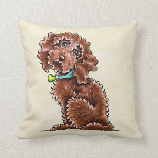 Chocolate Cockapoo Heart Collar Throw Pillow