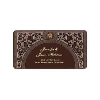 CHOCOLATE COCOA Floral Arch Wedding Address Label