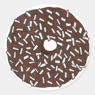 Chocolate Coconut Donut Round Sticker