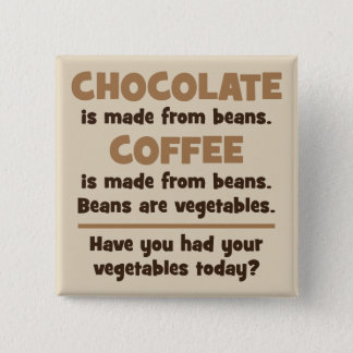 Chocolate, Coffee, Beans, Vegetables - Novelty 2 Inch Square Button