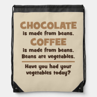 Chocolate, Coffee, Beans, Vegetables - Novelty Drawstring Bag