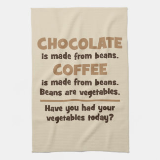 Chocolate, Coffee, Beans, Vegetables - Novelty Kitchen Towel