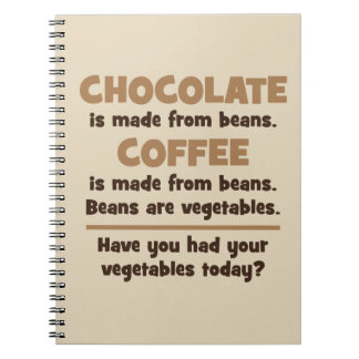 Chocolate, Coffee, Beans, Vegetables - Novelty Notebook