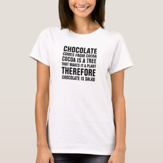 Chocolate comes from cocoa, cocoa is a tree, that T-Shirt