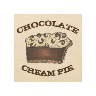 Chocolate Cream Pie Slice Baking Food Kitchen Gift Wood Wall Art