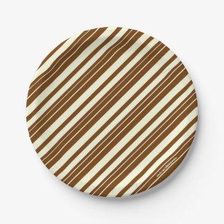 Chocolate Cream Stripe 7 Inch Paper Plate