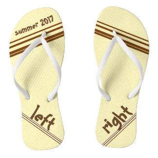 Chocolate Cream Stripe Left and Right Flip Flops