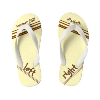 Chocolate Cream Stripe Left and Right Kid's Flip Flops