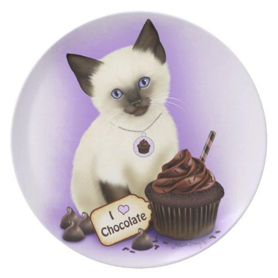 Chocolate Cupcake Cat Plate