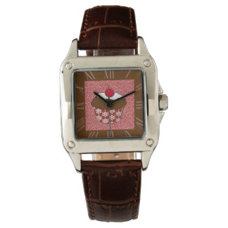 Chocolate Cupcake on Red and White Pattern Watch