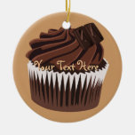 Chocolate Cupcake Double-Sided Ceramic Round Christmas Ornament