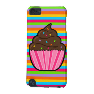 Chocolate Cupcake Rainbow Striped iPod Touch Case
