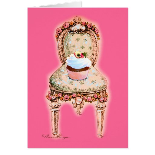 Chocolate cupcake Victorian Chair Greeting Card