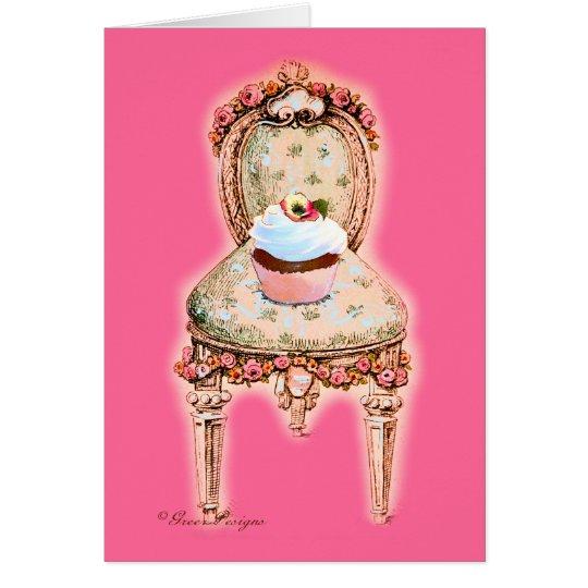 Chocolate cupcake Victorian Chair Greeting Card
