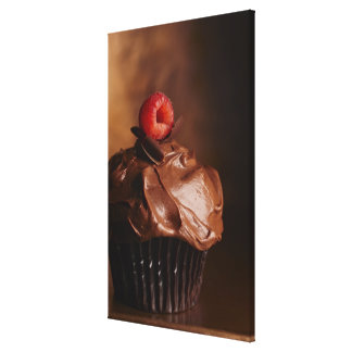 Chocolate Cupcake with a Raspberry topping Stretched Canvas Print