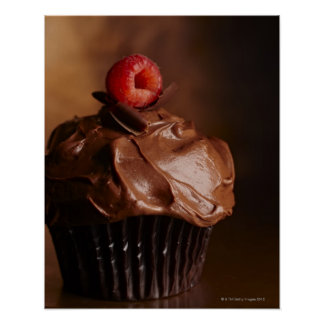 Chocolate Cupcake with a Raspberry topping Poster