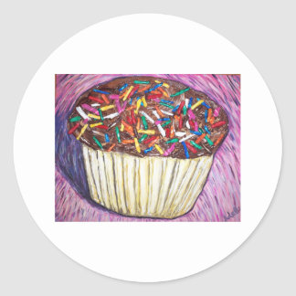 """Chocolate Cupcake With Sprinkles"" Classic Round Sticker"