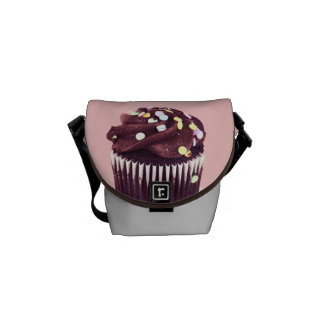 Chocolate cupcake with sprinkles messenger bag