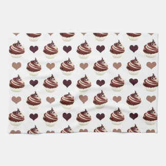 chocolate cupcakes pattern kitchen towel