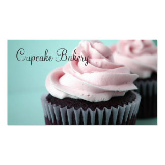 Chocolate Cupcakes Pink Vanilla Frosting Business Cards