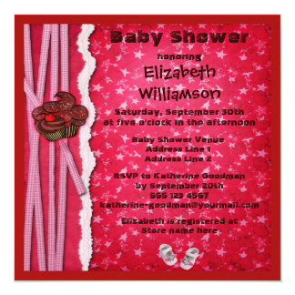 "Chocolate Cupcakes & Shoes Girl Baby Shower 5.25"" Square Invitation Card"