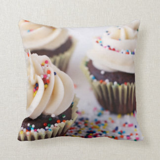 Chocolate Cupcakes Vanilla Frosting Sprinkles Throw Pillow