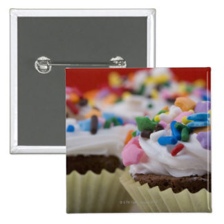 Chocolate cupcakes with icing and sprinkles, 2 inch square button