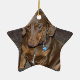 Chocolate Dachshund Ceramic Ornament