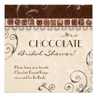Chocolate Damask Swirl Bridal Shower Invitation