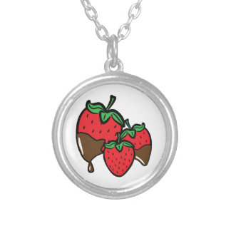 Chocolate Dip Strawberries Silver Plated Necklace
