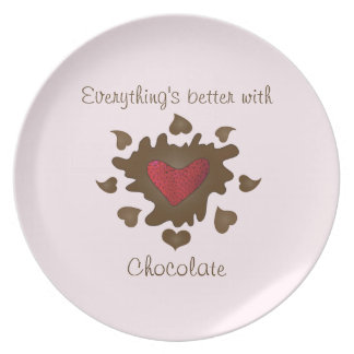 Chocolate Dipped Strawberry Heart Plate