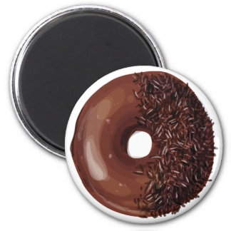 Chocolate Dipped with Chocolate Sprinkles Doughnut 2 Inch Round Magnet