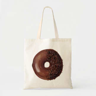 Chocolate Dipped with Chocolate Sprinkles Doughnut Tote Bag