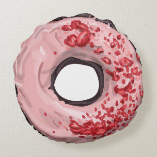 Chocolate Dipped with Strawberry Frosting Doughnut Round Pillow