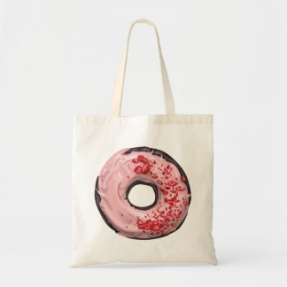Chocolate Dipped with Strawberry Frosting Doughnut Tote Bag