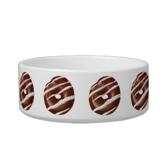 Chocolate Dipped with Vanilla Frosting Doughnut. Pet Food Bowls