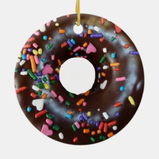 Chocolate donut ceramic ornament