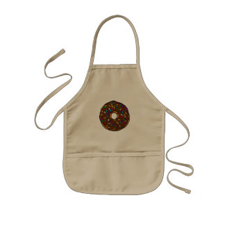 Chocolate Donut Rainbow Colorful Sprinkles Art Yum Kids Apron