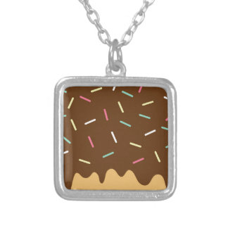 Chocolate Donut Silver Plated Necklace